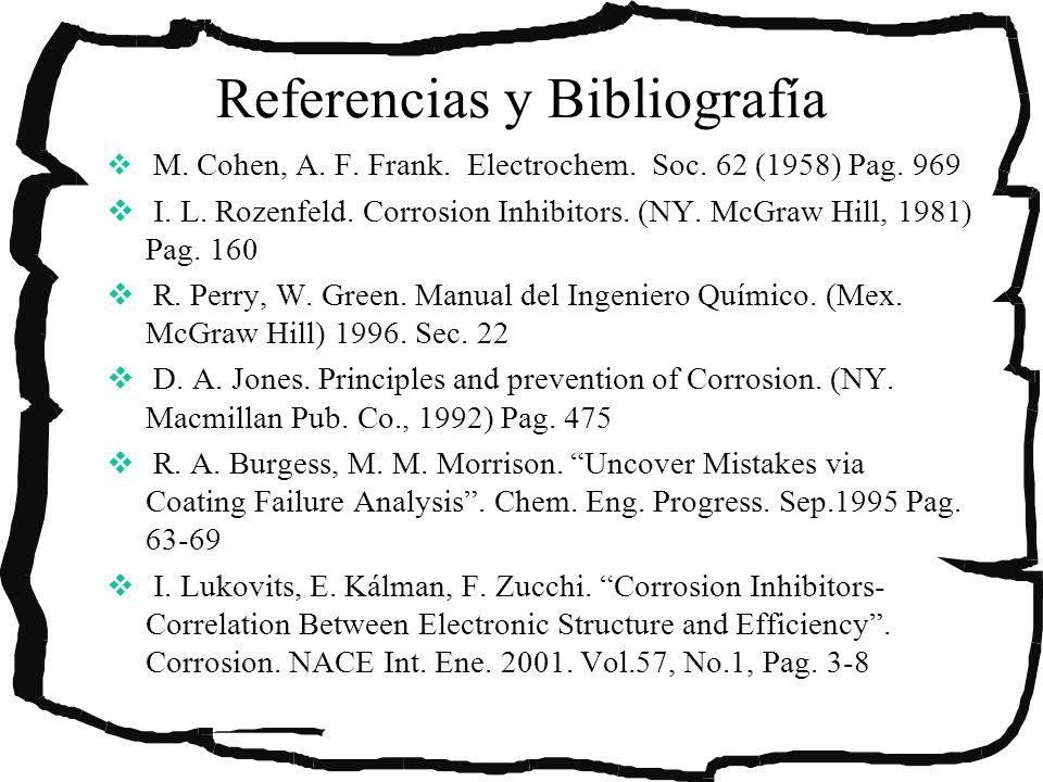 Referencias y Bibliografía M. Cohen, A. F. Frank. Electrochem. Soc. 62 (1958) Pag. 969 I. L. Rozenfeld. Corrosion Inhibitors. (NY. McGraw Hill, 1981)
