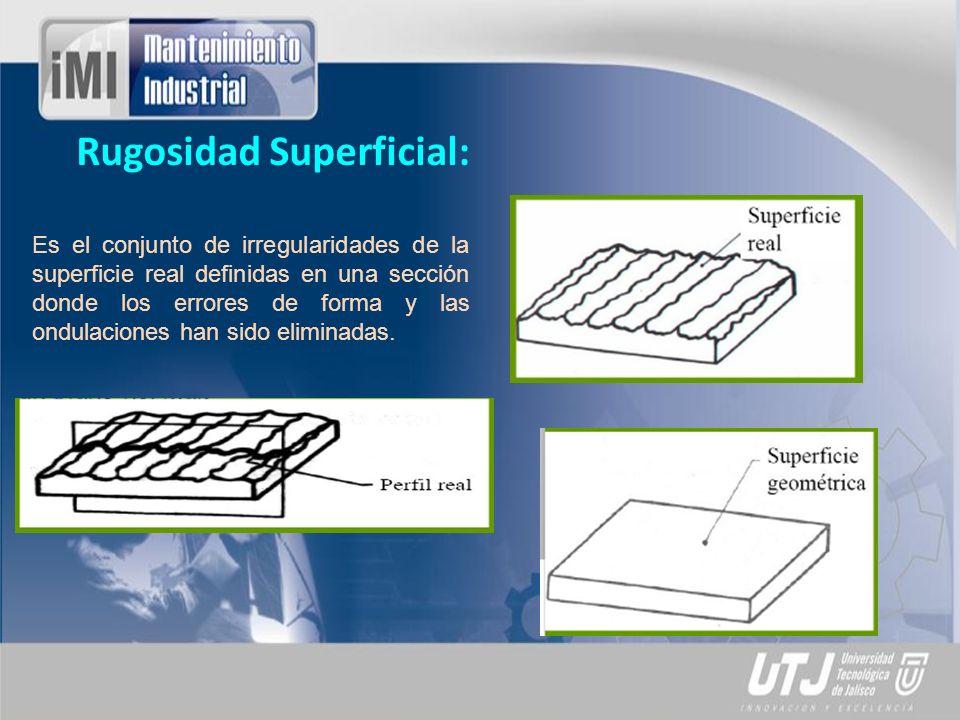 Rugosidad Superficial: Es el conjunto de irregularidades de la superficie real definidas en una sección donde los errores de forma y las ondulaciones
