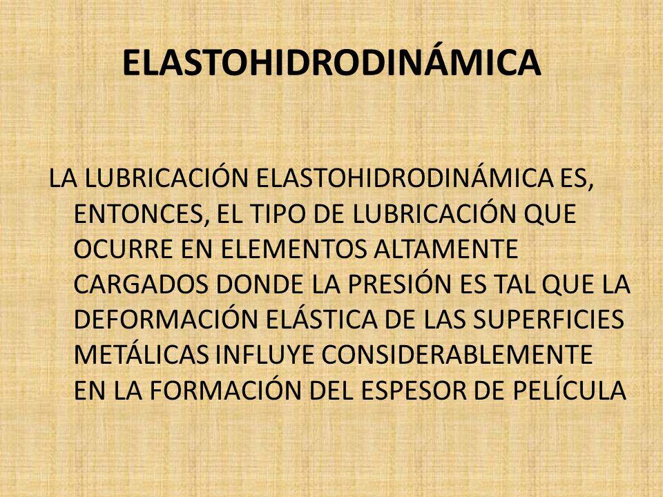 ELASTOHIDRODINÁMICA LA LUBRICACIÓN ELASTOHIDRODINÁMICA ES, ENTONCES, EL TIPO DE LUBRICACIÓN QUE OCURRE EN ELEMENTOS ALTAMENTE CARGADOS DONDE LA PRESIÓ