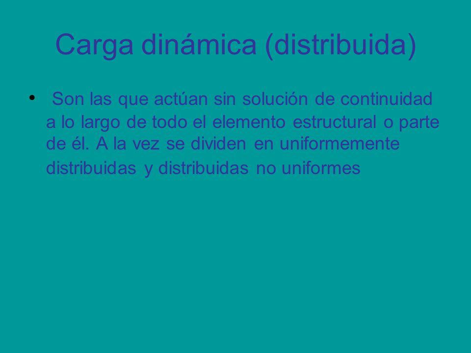 Carga dinámica (distribuida) Son las que actúan sin solución de continuidad a lo largo de todo el elemento estructural o parte de él. A la vez se divi