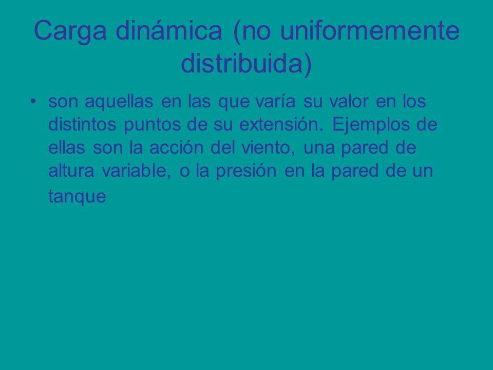 Carga dinámica (no uniformemente distribuida) son aquellas en las que varía su valor en los distintos puntos de su extensión. Ejemplos de ellas son la