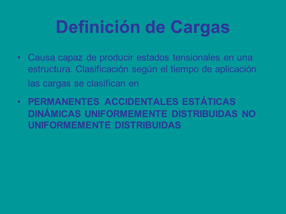 Definición de Cargas Causa capaz de producir estados tensionales en una estructura. Clasificación según el tiempo de aplicación las cargas se clasific