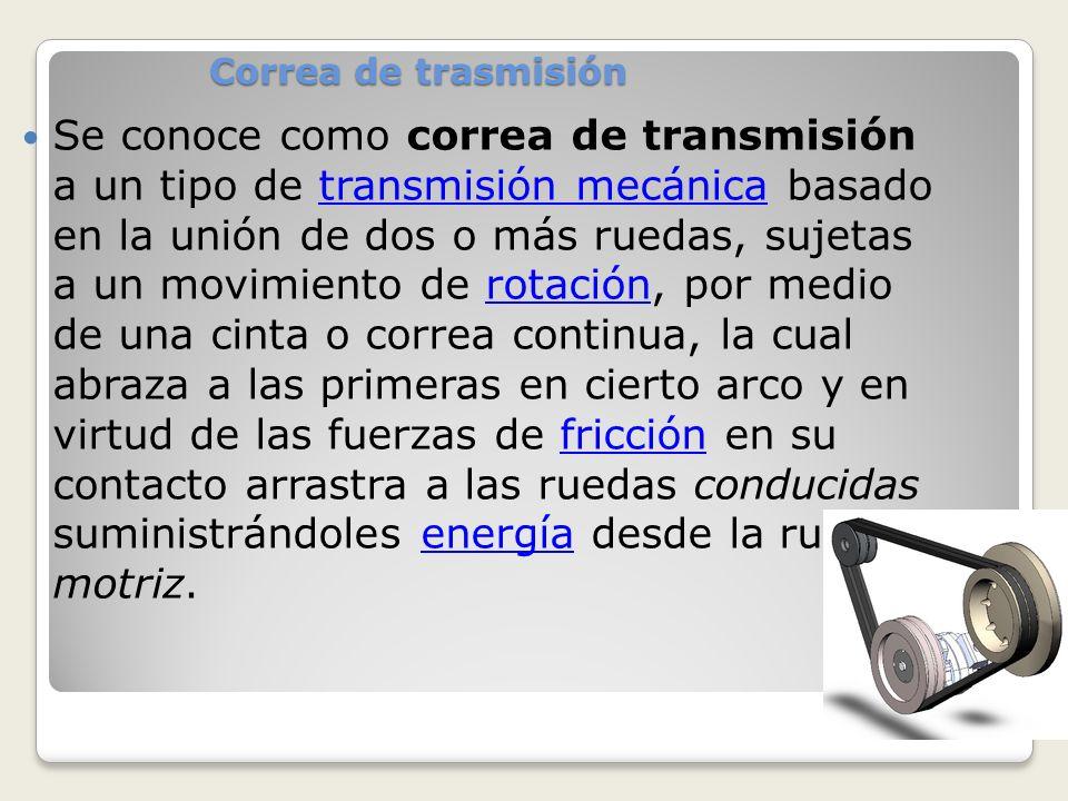 Se conoce como correa de transmisión a un tipo de transmisión mecánica basado en la unión de dos o más ruedas, sujetas a un movimiento de rotación, po
