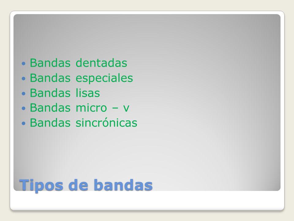 Tipos de bandas Bandas dentadas Bandas especiales Bandas lisas Bandas micro – v Bandas sincrónicas