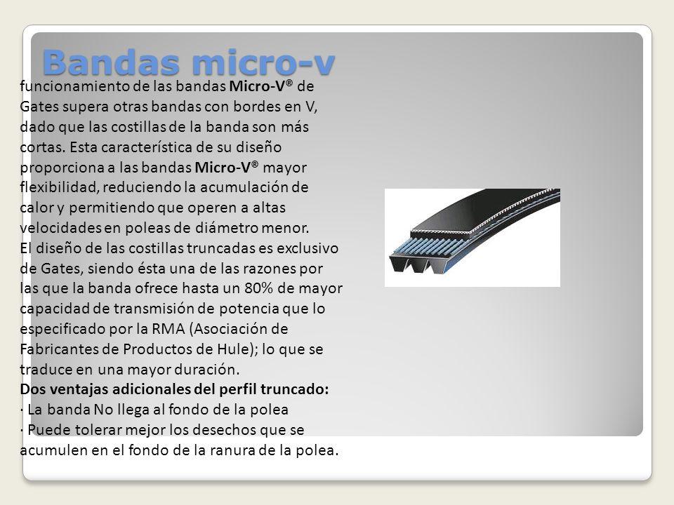 Bandas micro-v funcionamiento de las bandas Micro-V® de Gates supera otras bandas con bordes en V, dado que las costillas de la banda son más cortas.