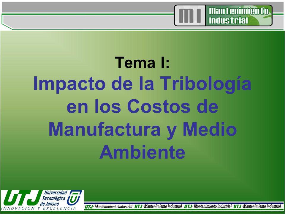 Tema I: Impacto de la Tribología en los Costos de Manufactura y Medio Ambiente