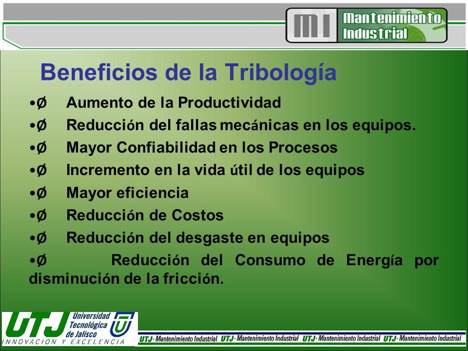 Beneficios de la Tribología Ø Aumento de la Productividad Ø Reducci ó n del fallas mec á nicas en los equipos. Ø Mayor Confiabilidad en los Procesos Ø