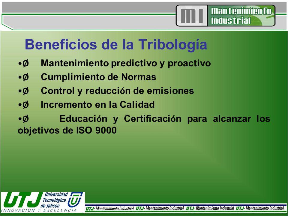 Beneficios de la Tribología Ø Mantenimiento predictivo y proactivo Ø Cumplimiento de Normas Ø Control y reducci ó n de emisiones Ø Incremento en la Ca