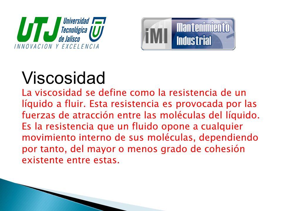 Viscosidad La viscosidad se define como la resistencia de un líquido a fluir. Esta resistencia es provocada por las fuerzas de atracción entre las mol