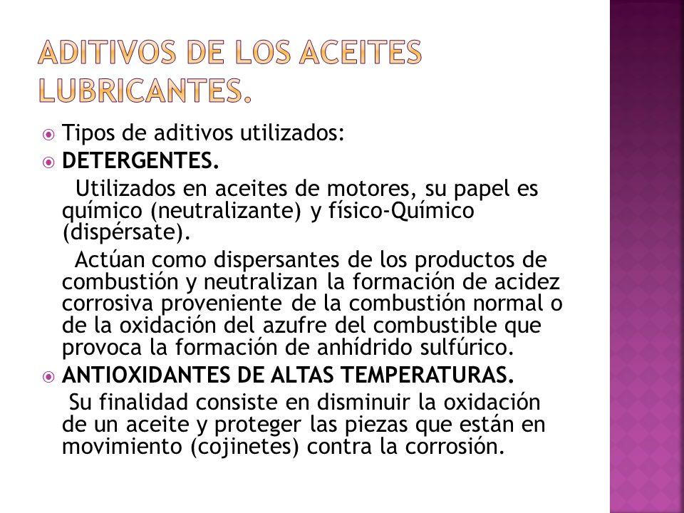 Tipos de aditivos utilizados: DETERGENTES. Utilizados en aceites de motores, su papel es químico (neutralizante) y físico-Químico (dispérsate). Actúan