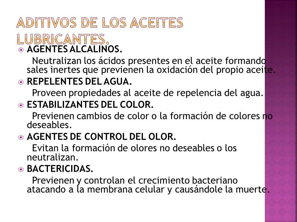 AGENTES ALCALINOS. Neutralizan los ácidos presentes en el aceite formando sales inertes que previenen la oxidación del propio aceite. REPELENTES DEL A