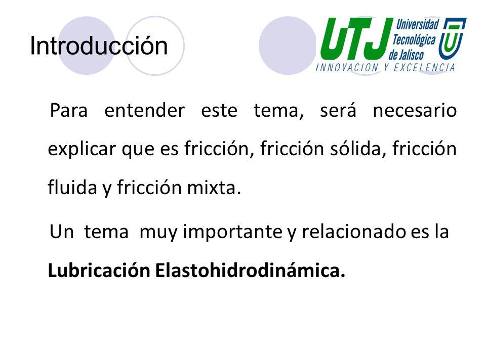 Introducción Para entender este tema, será necesario explicar que es fricción, fricción sólida, fricción fluida y fricción mixta. Un tema muy importan