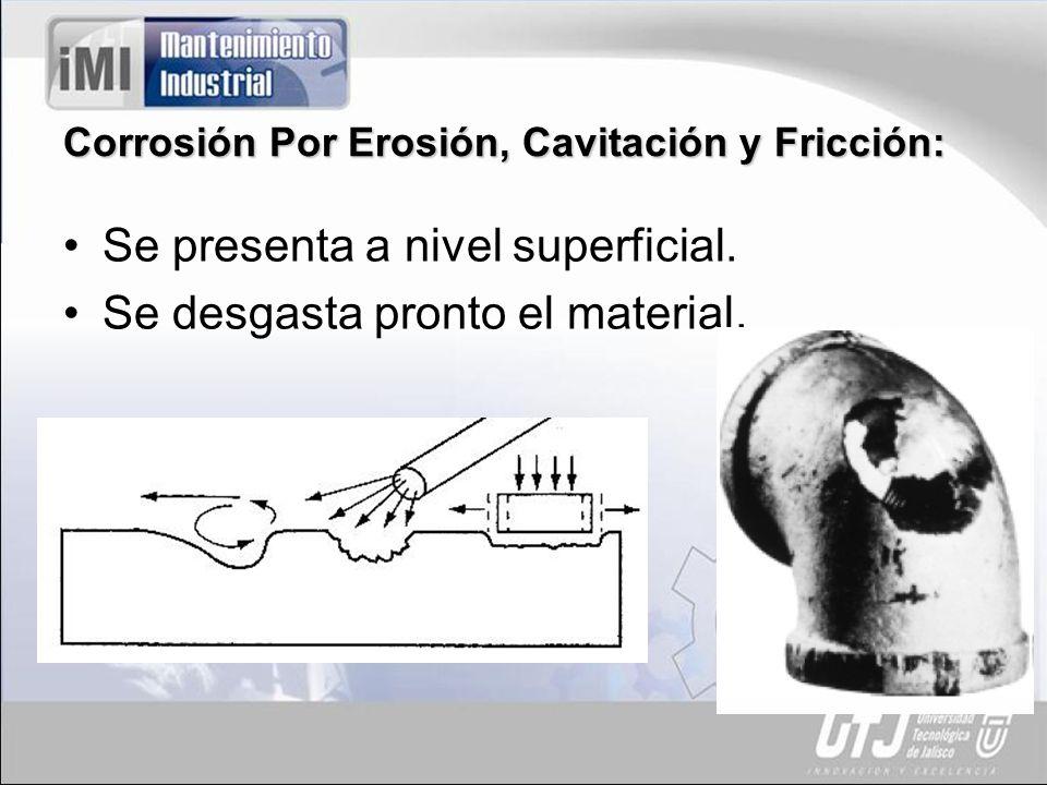 Corrosión Por Erosión, Cavitación y Fricción: Se presenta a nivel superficial. Se desgasta pronto el material.