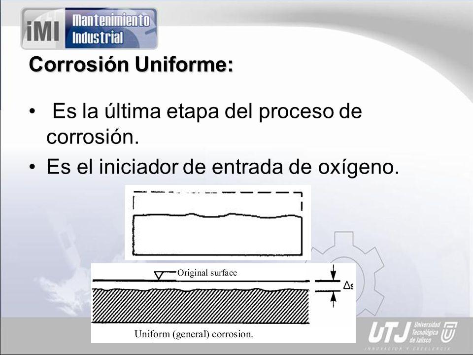 Corrosión Uniforme: Es la última etapa del proceso de corrosión. Es el iniciador de entrada de oxígeno.