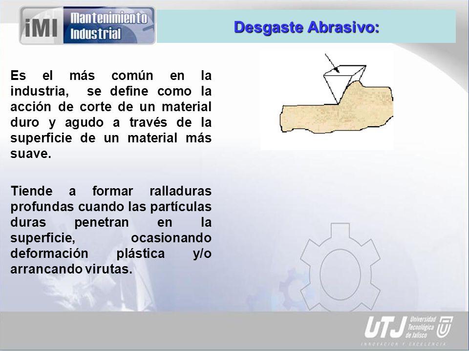 Desgaste Adhesivo: También llamado desgaste por fricción ó deslizante, es una forma de deterioro que se presenta entre dos superficies en contacto deslizante.