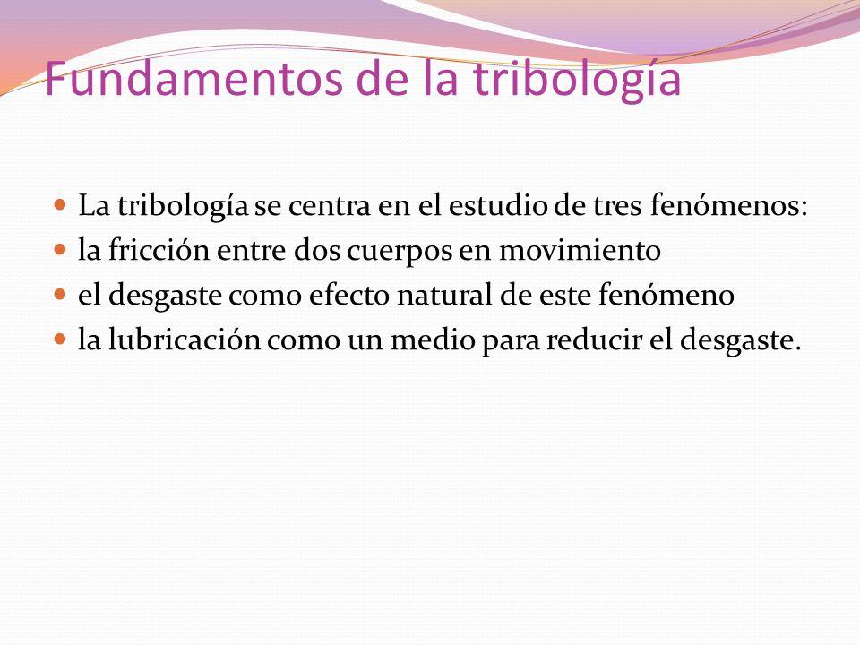 Fundamentos de la tribología La tribología se centra en el estudio de tres fenómenos: la fricción entre dos cuerpos en movimiento el desgaste como efe