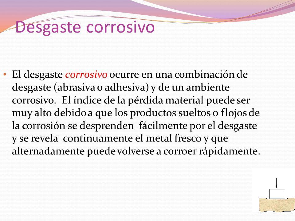 Desgaste corrosivo El desgaste corrosivo ocurre en una combinación de desgaste (abrasiva o adhesiva) y de un ambiente corrosivo. El índice de la pérdi