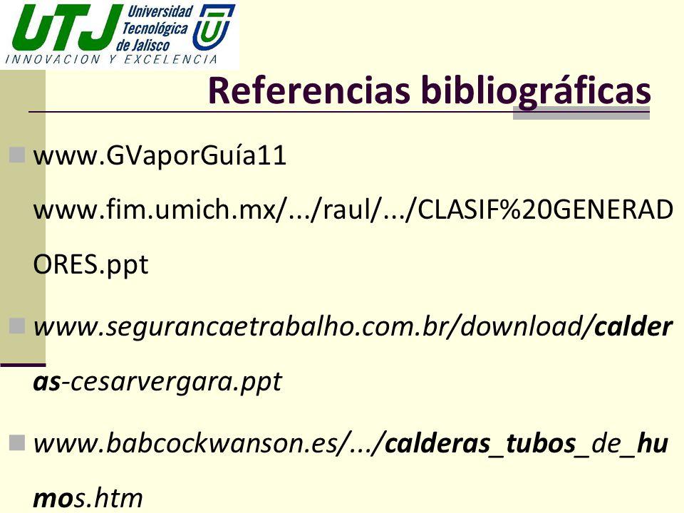 Referencias bibliográficas www.GVaporGuía11 www.fim.umich.mx/.../raul/.../CLASIF%20GENERAD ORES.ppt www.segurancaetrabalho.com.br/download/calder as-c