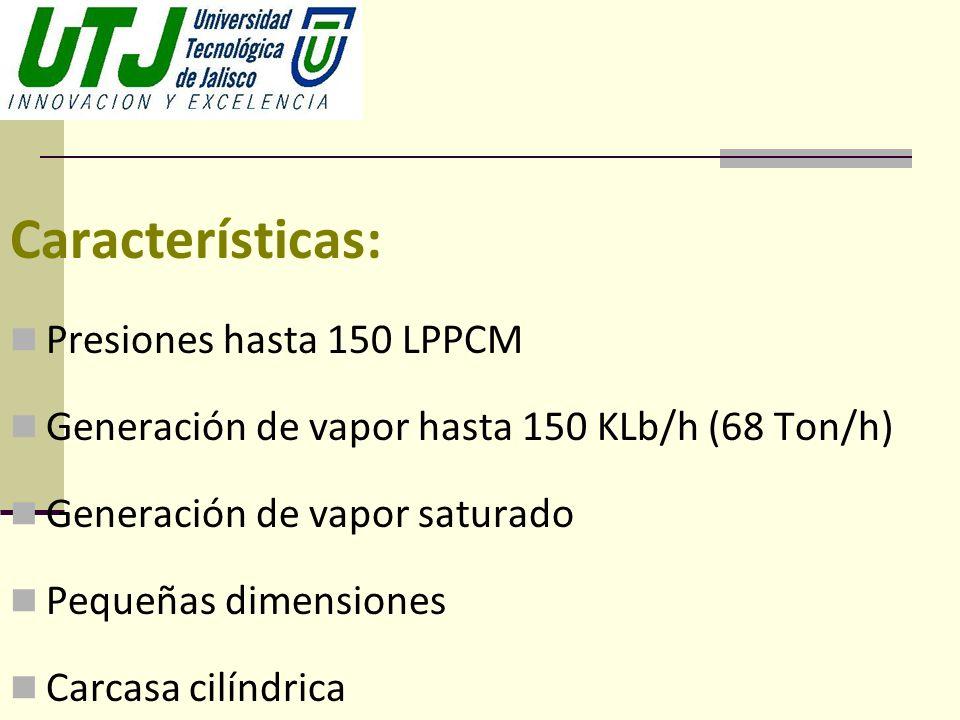 Características: Presiones hasta 150 LPPCM Generación de vapor hasta 150 KLb/h (68 Ton/h) Generación de vapor saturado Pequeñas dimensiones Carcasa ci