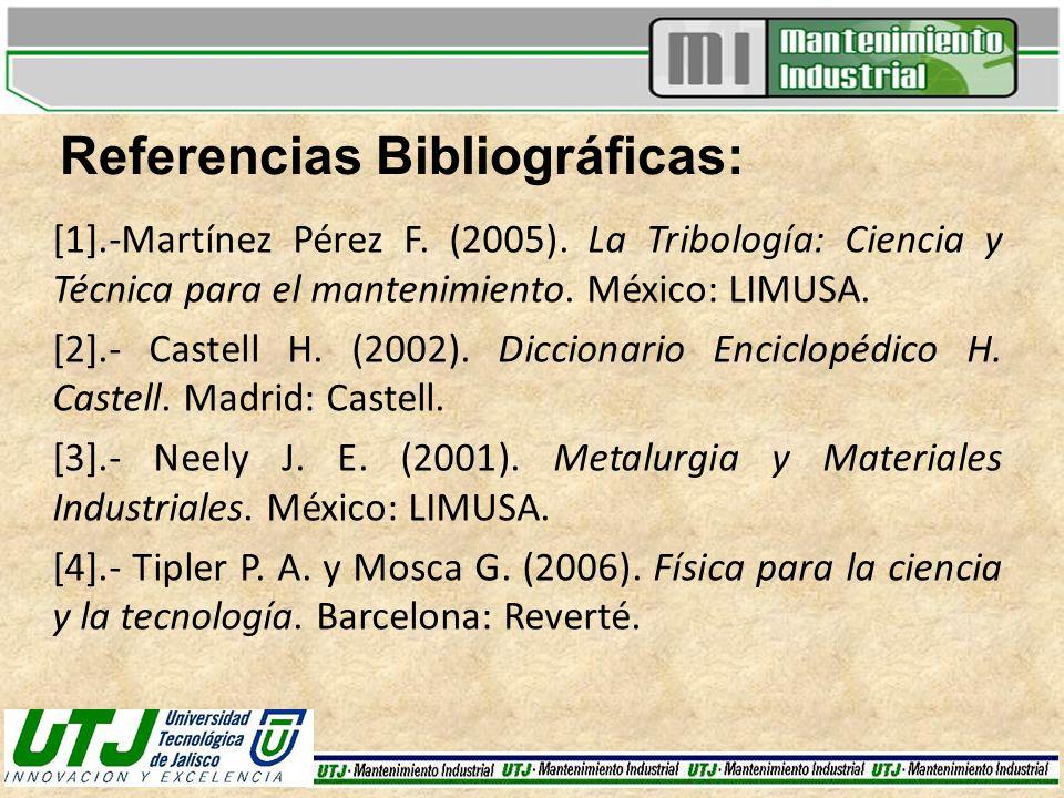 Referencias Bibliográficas: [1].-Martínez Pérez F. (2005). La Tribología: Ciencia y Técnica para el mantenimiento. México: LIMUSA. [2].- Castell H. (2