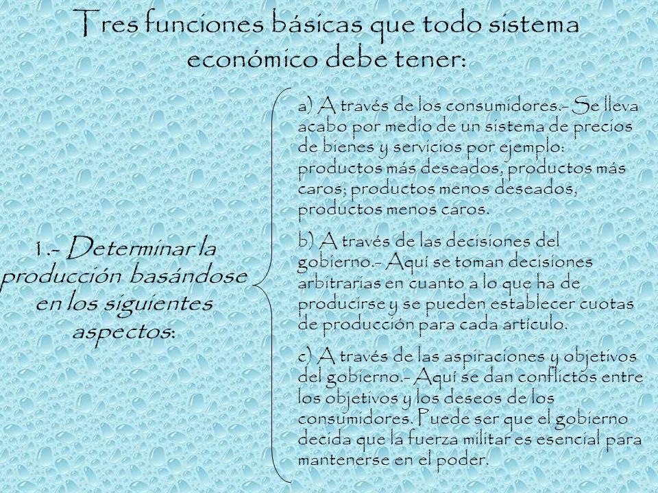 Tres funciones básicas que todo sistema económico debe tener: a) A través de los consumidores.- Se lleva acabo por medio de un sistema de precios de b