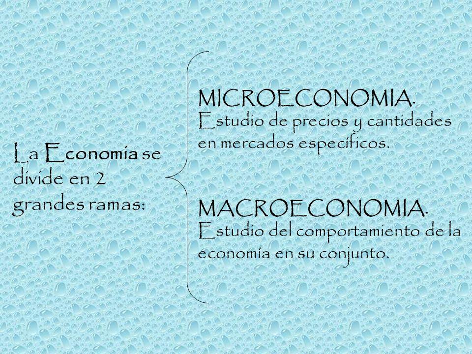 La Economia se divide en 2 grandes ramas: MICROECONOMIA. Estudio de precios y cantidades en mercados específicos. MACROECONOMIA. Estudio del comportam