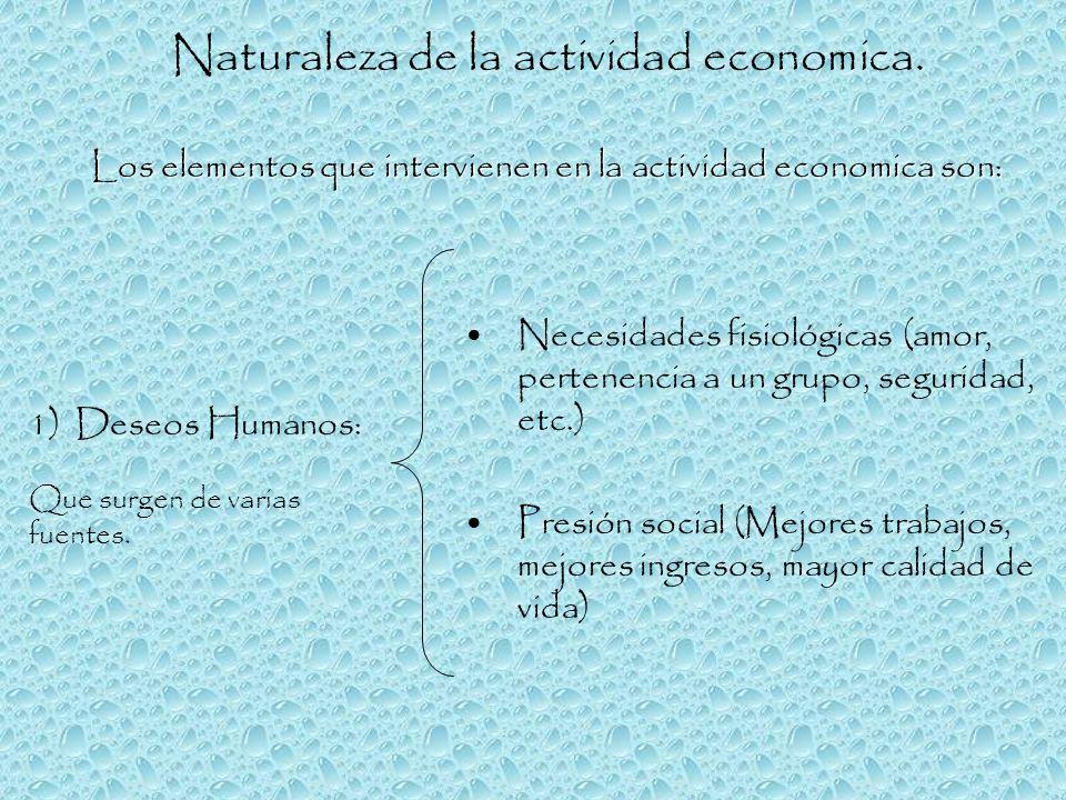 Los elementos que intervienen en la actividad economica son: Naturaleza de la actividad economica. Necesidades fisiológicas (amor, pertenencia a un gr