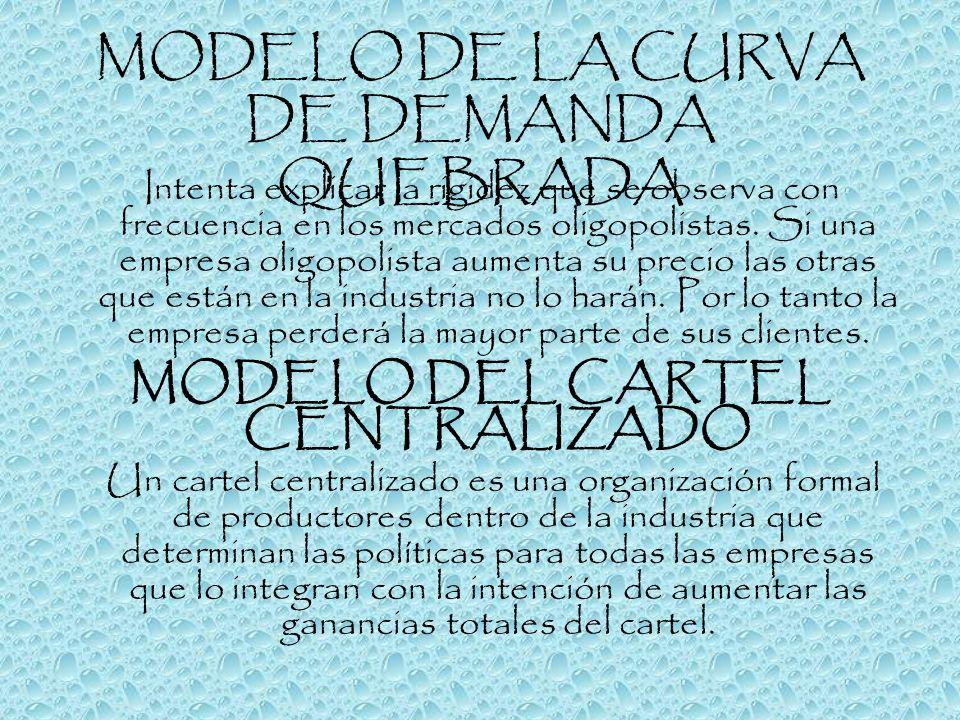 MODELO DE LA CURVA DE DEMANDA QUEBRADA Intenta explicar la rigidez que se observa con frecuencia en los mercados oligopolistas. Si una empresa oligopo