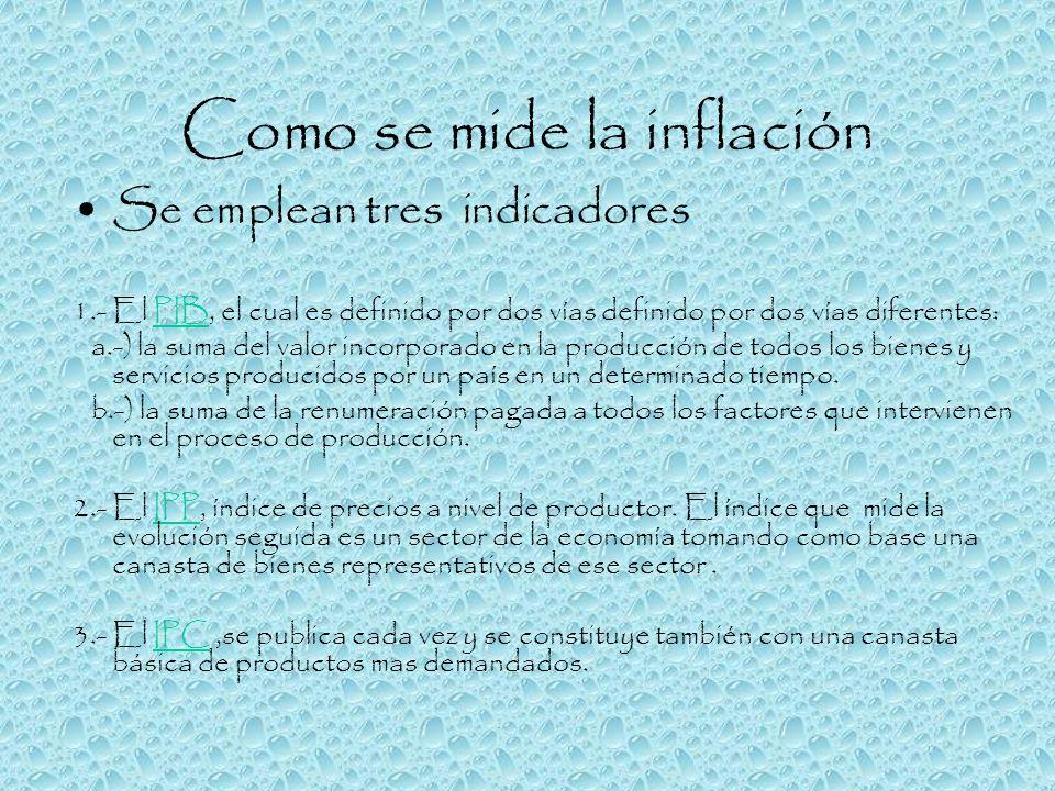 Como se mide la inflación Se emplean tres indicadores 1.- El PIB, el cual es definido por dos vías definido por dos vías diferentes: a.-) la suma del