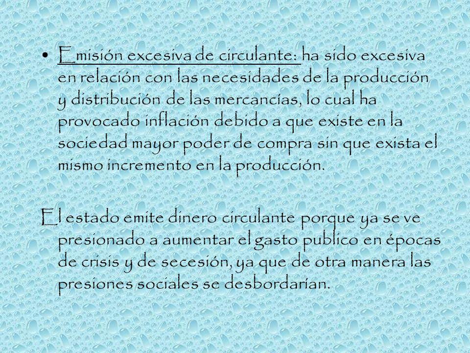 Emisión excesiva de circulante: ha sido excesiva en relación con las necesidades de la producción y distribución de las mercancías, lo cual ha provoca