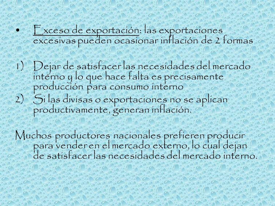 Exceso de exportación: las exportaciones excesivas pueden ocasionar inflación de 2 formas 1)Dejar de satisfacer las necesidades del mercado interno y