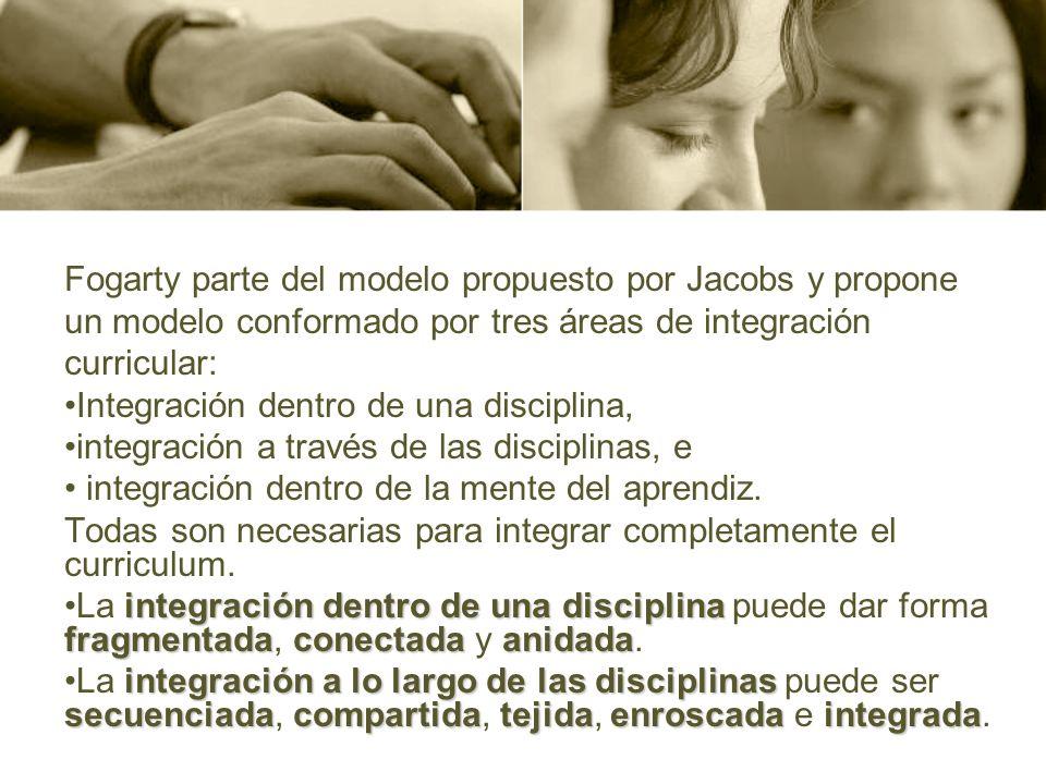 Fogarty parte del modelo propuesto por Jacobs y propone un modelo conformado por tres áreas de integración curricular: Integración dentro de una disci