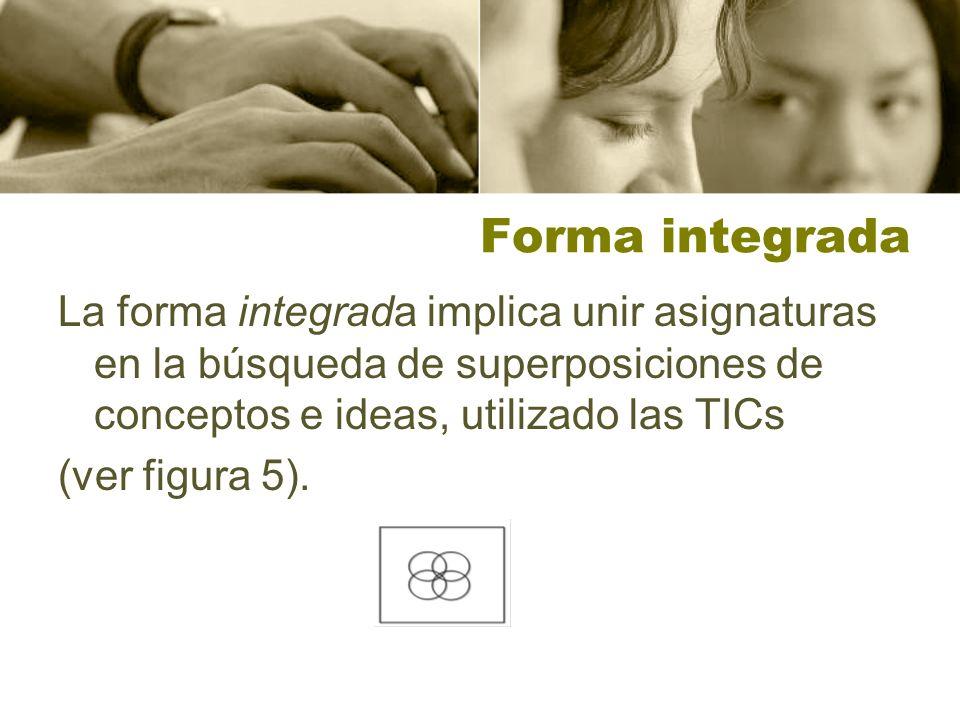 Forma integrada La forma integrada implica unir asignaturas en la búsqueda de superposiciones de conceptos e ideas, utilizado las TICs (ver figura 5).