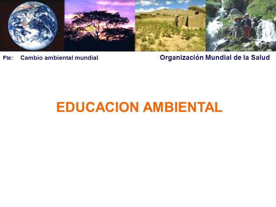 EDUCACION AMBIENTAL Fte: Cambio ambiental mundial Organización Mundial de la Salud