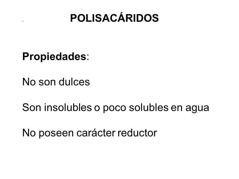 . POLISACÁRIDOS Propiedades: No son dulces Son insolubles o poco solubles en agua No poseen carácter reductor