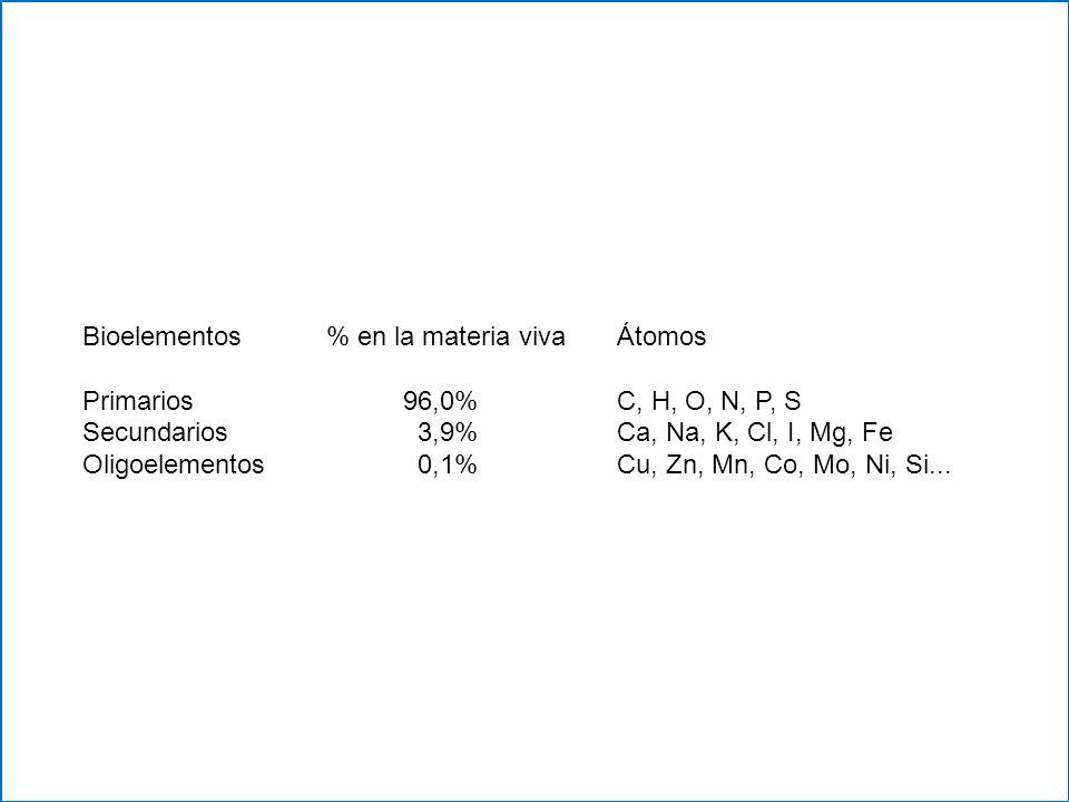 Bioelementos % en la materia vivaÁtomos Primarios 96,0%C, H, O, N, P, S Secundarios 3,9%Ca, Na, K, Cl, I, Mg, Fe Oligoelementos 0,1%Cu, Zn, Mn, Co, Mo