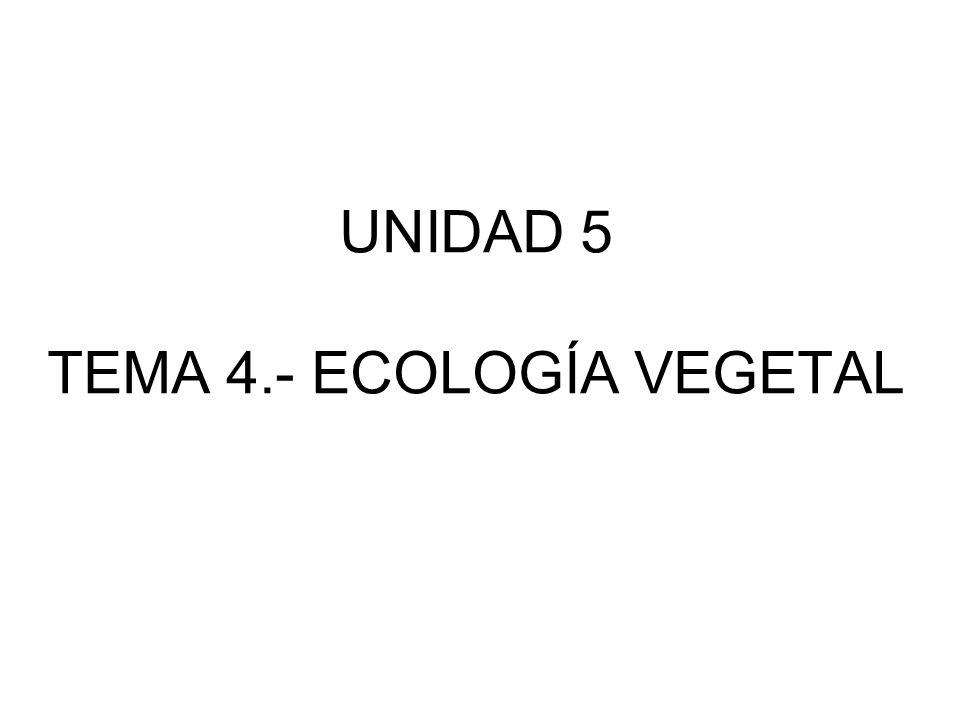 UNIDAD 5 TEMA 4.- ECOLOGÍA VEGETAL