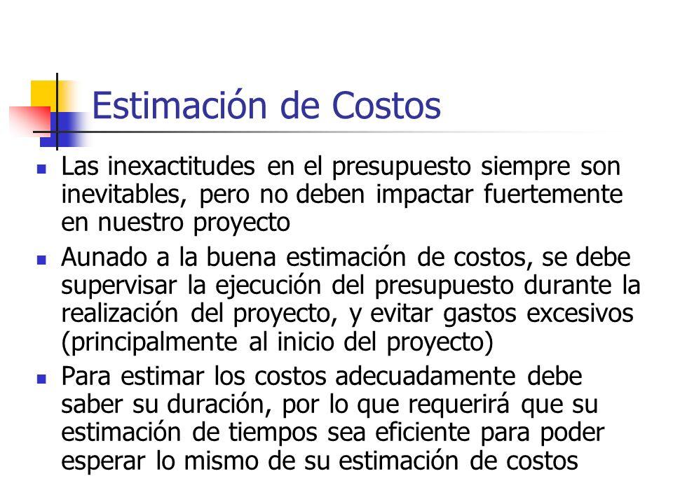 Estimación de Costos Las inexactitudes en el presupuesto siempre son inevitables, pero no deben impactar fuertemente en nuestro proyecto Aunado a la b