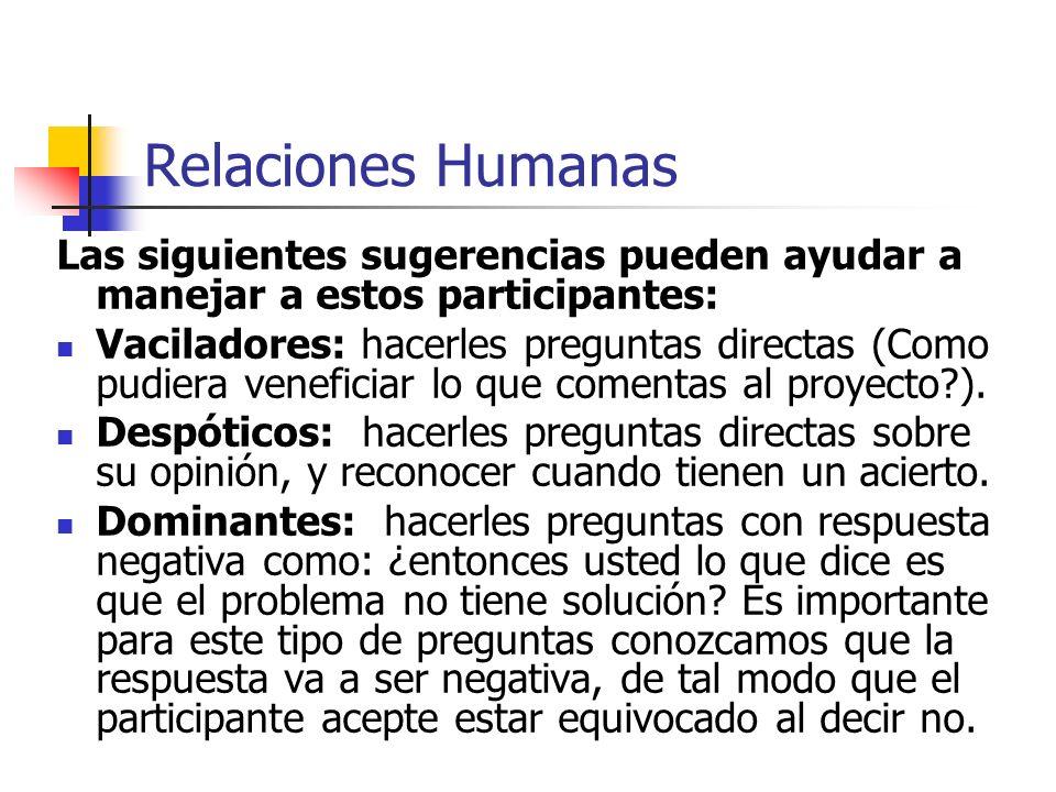 Relaciones Humanas Existen varios estereotipos de personas en nuestras juntas de trabajo: Vaciladores: divagaciones, bromas, pérdida de tiempo improdu