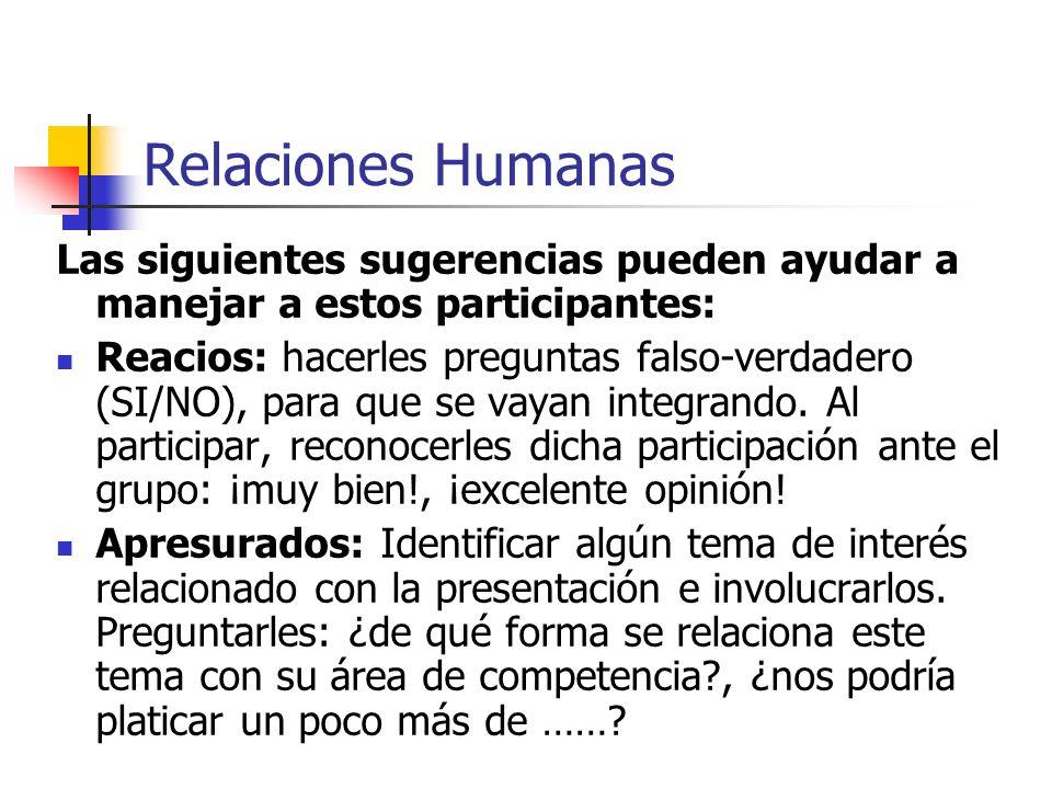 Relaciones Humanas Las siguientes sugerencias pueden ayudar a manejar a estos participantes: Vaciladores: hacerles preguntas directas (Como pudiera ve
