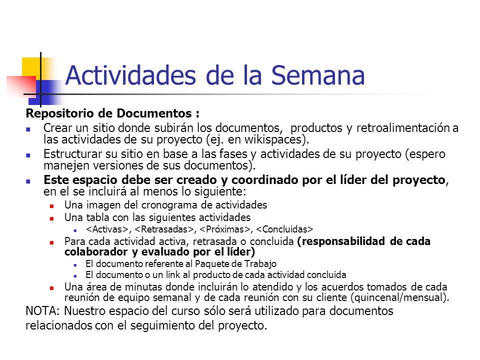 Seguimiento del proyecto Actividades del Líder del Proyecto: Monitorear el seguimiento de las tareas de los Paquetes de Trabajo (inicio y término). Id
