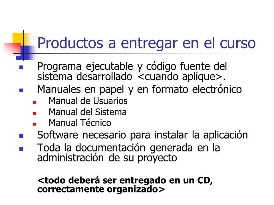Productos a entregar en el curso Programa ejecutable y código fuente del sistema desarrollado. Manuales en papel y en formato electrónico Manual de Us