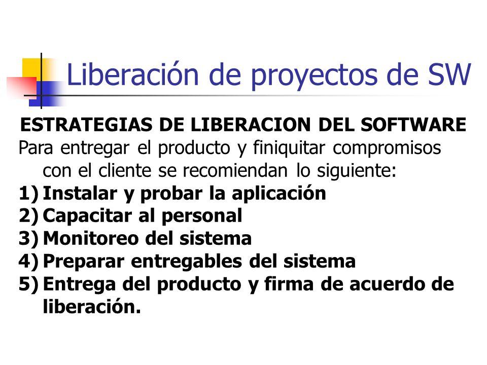 Liberación de proyectos de SW ESTRATEGIAS DE LIBERACION DEL SOFTWARE Para entregar el producto y finiquitar compromisos con el cliente se recomiendan
