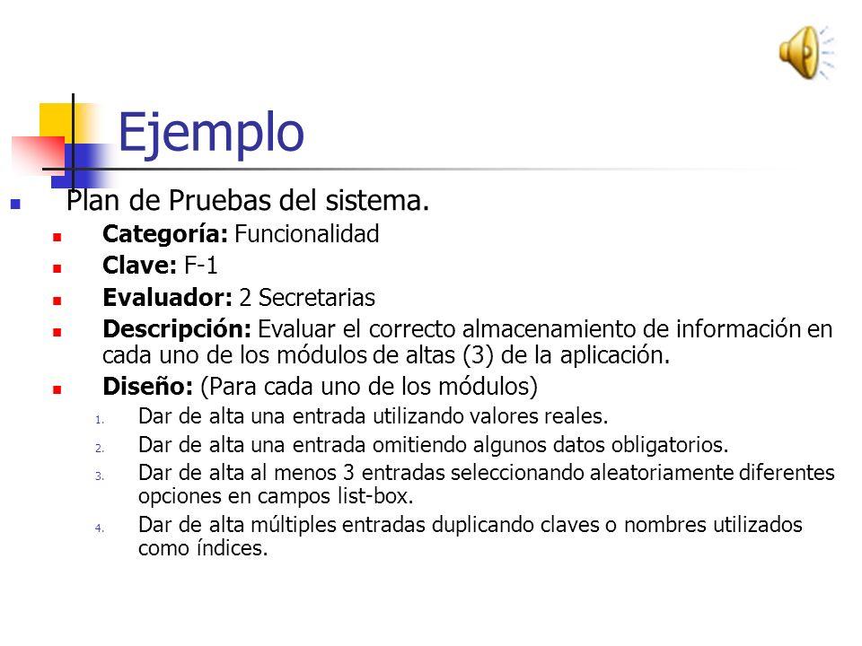 Entregables de las Pruebas: Plan de Pruebas del sistema. Descripción de las pruebas Diseño de la prueba y resultado esperado Calendario de ejecución E