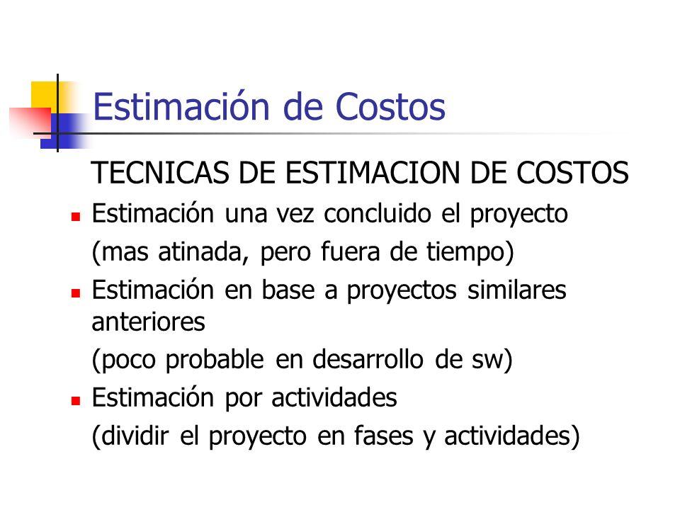 Estimación de Costos TECNICAS DE ESTIMACION DE COSTOS Estimación una vez concluido el proyecto (mas atinada, pero fuera de tiempo) Estimación en base a proyectos similares anteriores (poco probable en desarrollo de sw) Estimación por actividades (dividir el proyecto en fases y actividades)