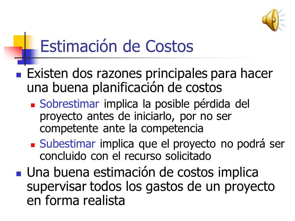 Estimación de Costos TECNICAS DE ESTIMACION DE COSTOS Estimación una vez concluido el proyecto (mas atinada, pero fuera de tiempo) Estimación en base