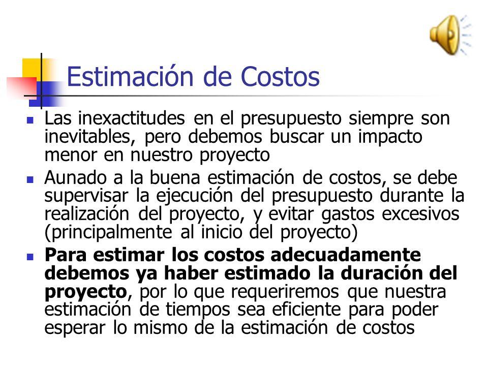 Estimación de Costos Existen dos razones principales para hacer una buena planificación de costos Sobrestimar implica la posible pérdida del proyecto