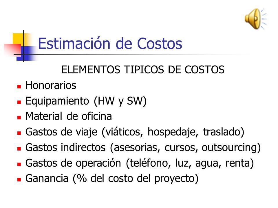 Estimación de Costos ELEMENTOS TIPICOS DE COSTOS Honorarios Equipamiento (HW y SW) Material de oficina Gastos de viaje (viáticos, hospedaje, traslado) Gastos indirectos (asesorias, cursos, outsourcing) Gastos de operación (teléfono, luz, agua, renta) Ganancia (% del costo del proyecto)