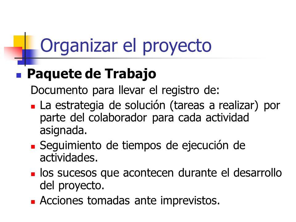 Organizar el proyecto Proyecto:Cliente:Fecha Inicio:Fecha Termino: PLAN DETALLADO DEL PROYECTO NUMNOMBRE DE ACTIVIDADFECHA INI.FECHA FINCOLABORADOR(ES