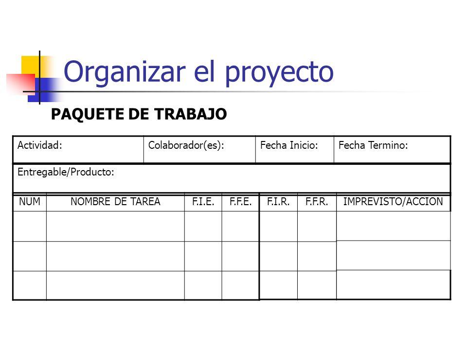 Organizar el proyecto Paquete de Trabajo Documento para llevar el registro de: La estrategia de solución (tareas a realizar) por parte del colaborador